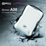 Silicon Power Portable Hard Drive Armor A30_Shockproof 1TB USB 3.1 White