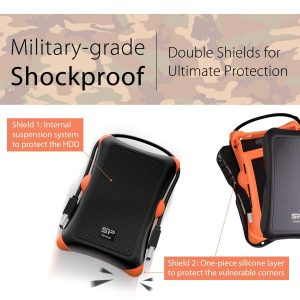 Silicon Power Portable Hard Drive Armor A30_Shockproof 2TB USB 3.1 Black