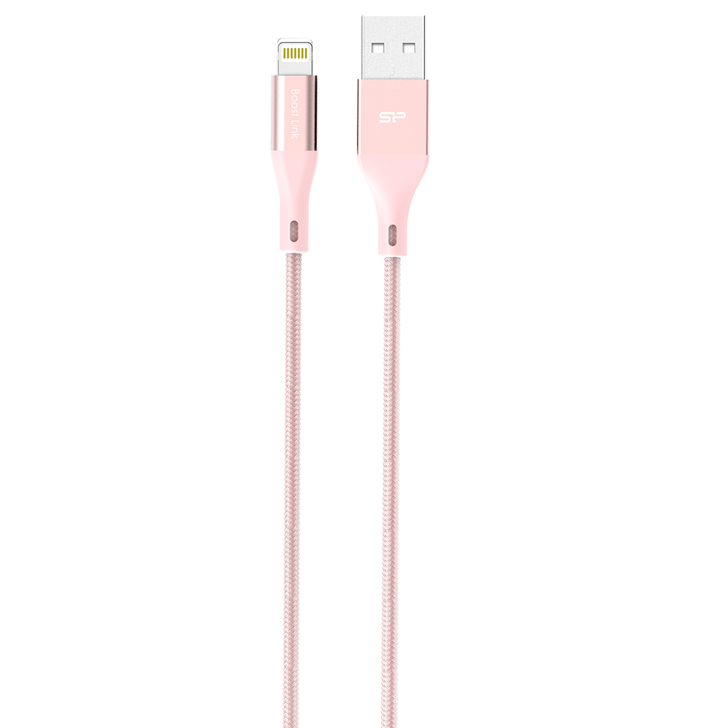 Silicon Power Cable Lightning Nylon Pink