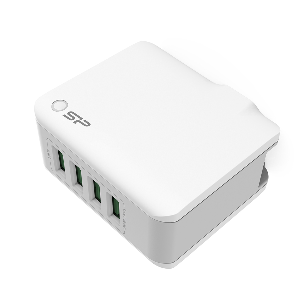 Silicon Power Travel Plug 4.4A fast charging 4 USB ports White